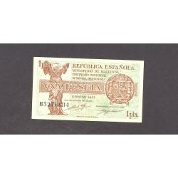 España 1 Ptas. 1937. (Serie B). (46x86mm). MBC. (Doblez). EDF. C43 - HG. 418