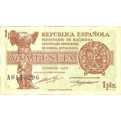 España 1 Ptas. 1937. (Serie A). (46x86mm). SC-. (Lev.cambio de color por el tiempo). EDF. C43 - HG. 418