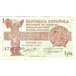1 Ptas. 1937. (Serie A). (46x86mm). MBC/MBC+. (Doblez). EDF. C43 - HG. 418