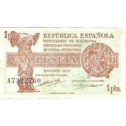 España 1 Ptas. 1937. (Serie A). (46x86mm). MBC/MBC+. (Doblez). EDF. C43 - HG. 418