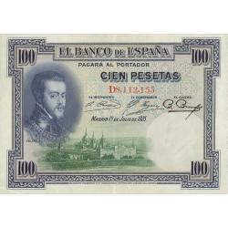 100 Ptas. 1925. (Serie D-Felipe II). (93x130mm). EBC-/EBC. (Muy nuevo con lev.doblez). EDF. C1 - HG. 356
