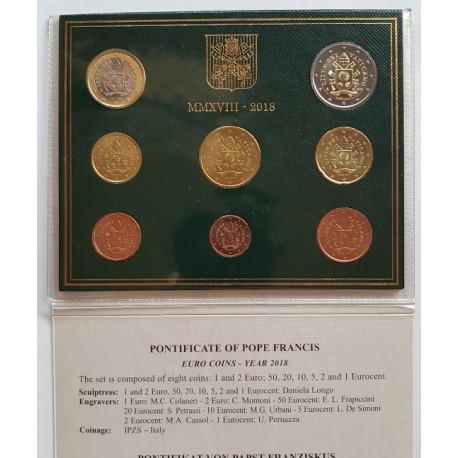 UE Serie UE. 2018. CUNI. (Carterita oficial con 8 valores). (Escudo Armas Vaticano-Papa Francisco). SC