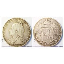 Chipre 4,5 Piastras. 1901. AG. 2,828gr. Ley:0,925. Fino/a:2,616. Ø19mm. MBC-/MBC. KM. 5