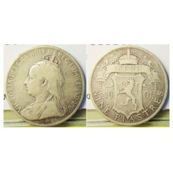 Chipre 9 Piastras. 1901. AG. 5,655gr. Ley:0,925. Fino/a:5,231. Ø23mm. MBC-/MBC. KM. 6