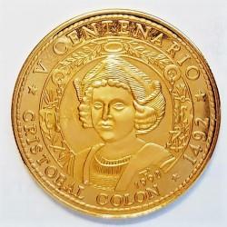 Cuba 100 Pesos. 1990. AU. 31,103gr. Ley:1,000. Fino/a:31,103. (VºCº-Descub.America-Colon). Ø38mm. PRF. RARO/A. (Solo 250 moneda