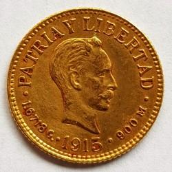 1 Pesos. 1915. AU. 1,672gr. Ley:0,900. Fino/a:1,505. (J.Marti). Ø14mm. EBC+. MUY ESCASO/A. KM. 16