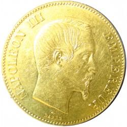 100 Francos. 1859. A-(Paris). AU. 32,258gr. Ley:0,900. Fino/a:29,032. Ø35mm. EBC/EBC+. (Lev.marquitas). KM. 786.1 - GAD. 1135