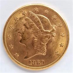 20 Dolar. 1889. S-(St.Francisco). AU. 33,436gr. Ley:0,900. Fino/a:30,092. (Tipo Liberty). Ø33mm. SC-. (Marquita anv.). KM. 74.3