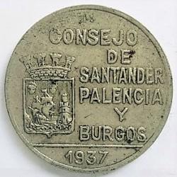 España 1 Ptas. 1937. SANTANDER, Palencia y Burgos. MBC-/MBC. CUNI. 5,36gr. Ø22mm. HG. 202