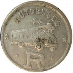 España 10 Cts. 1937. BARCELONA-(B). (Autobuses Roca). MBC/MBC+. Anv: Autobuses/R. Rev: Valor. (FICHA). AL. 1,72gr. Ø26mm. LO.