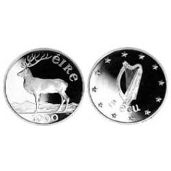 Irlanda.-Rep. 5 Ecus. 1990. AG. 10,2gr. Ley:0,900. (Arpa y Ciervo). Ø28mm. PRF