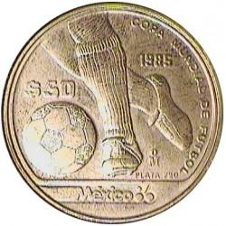 Mejico 50 Pesos. 1985. AG. 15,55gr. Ley:0,720. (Mundial de Futbol-Pelota). Ø32mm. SC-/SC. KM. 498