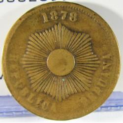 Peru 2  Ctvo.  1878. AE. 6,92gr. Ø24mm. MBC-. KM. 188.1a