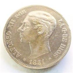 España 5 Ptas. 1881. *18*81-(algo flojas). Madrid. MSM. MBC-. AG. 25gr. Ø37mm. CT. 30 - HG. 132