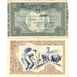 España Bilbao. . 100 Ptas. 1937. BC+/MBC-. (Bco.VIZCAYA)-(Sin matriz). EDF. C41a - PIK. S565. (Mancha del papel)