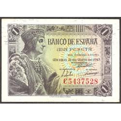 España 1 Ptas. 1943. SC. (Serie A-PAREJA Correlativa-Fernando). PIK. 126a - EDF. D48