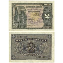 España 2 Ptas. 1938. Abril. EBC-. (Serie C). EDF. D30 a - PIK. 109a. (Nuevo con deblez.Marquita margen)