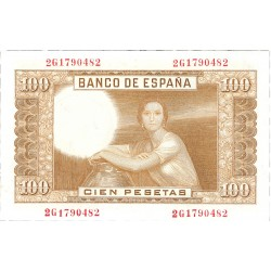 España 100 Ptas. 1953. SC. (Seerie 3C-PAREJA Correlatia-Color oscuro-J.Romero). EDF. D65 b - PIK. 145a