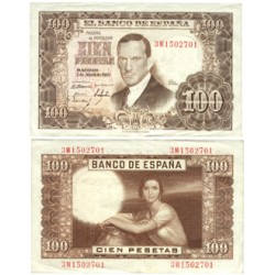 España 100 Ptas. 1953. SC. (Nuevo con casi inapreciable ondulacion). (Serie 3J-Color oscuro-(J.Romero). EDF. D65 b - PIK. 145