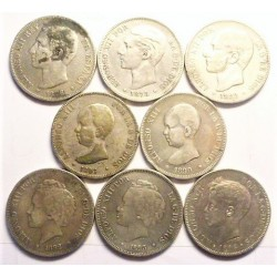 España 5 Ptas. 1876. 1898. (Sin nº en estrellas). BC+/MBC-. AG. 200gr. (3 de Alfonso XII + 5 de alfonso III) . (LOTE de 8 Mone