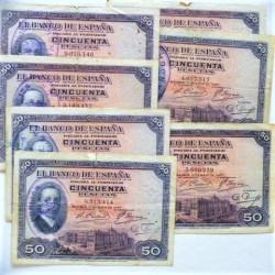 España 50 Ptas. 1927. RC-/RC. (Doblez). (Sello tampon vertical para circular durante la II Republica). (LOTE: 7 Billetes-Alfon