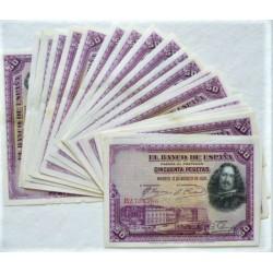 España 50 Ptas. 1928. SC-. (Nuevos con muy lev.ondulación/doblez). (Serie B-LOTE de 25 Billetes)-(Velazquez). EDF. C5 - PIK. 7