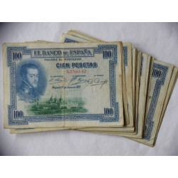 España 100 Ptas. 1925. MC/MBC. (Resello en seco, para circular en la II Republica). (LOTE: 33 Billetes-RESELLO en Seco-LOTE:33