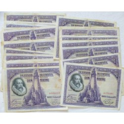 España 1000 Ptas. 1925. EBC/EBC+. (Muy Nuevos con doblez.Muy bonitos). (LOTE:10 Billetes-Carlos I). EDF. C2 - PIK. 70b
