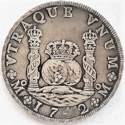 España 8 Reales. 1742. Mº-(Mejico). MF. MBC. (El 4 de la fecha algo empastado). (Tipo Columnario). AG. 26,76gr. Ø38mm. CT. 705