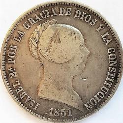 España 20 Reales. 1851. Barcelona. BC/BC+. RARO/A. AG. 26gr. Ø37mm. CT. 145 - HG. 503