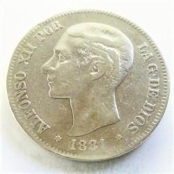 España 5 Ptas. 1881. *18*-1. Madrid. MSM. BC+/MBC-. AG. 25gr. Ø37mm. CT. 30 - HG. 132