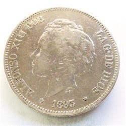 España 5 Ptas. 1893. *18*--. Madrid. PGV. MBC-. AG. 25gr. Ø37mm. CT. 23