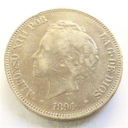 España 5 Ptas. 1894. *18*94-(el 94 algo flojo). Madrid. PGV. MBC-. AG. 24,8gr. Ø37mm. CT. 24 - HG. 150