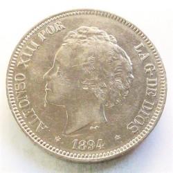 España 5 Ptas. 1894. *18*94. Madrid. PGV. EBC-/EBC. (Marquitas.Bonito). AG. 25gr. Ø37mm. CT. 24 - HG. 150