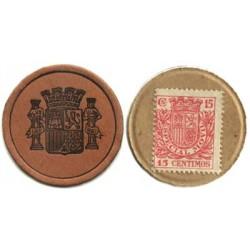 España 15 Cts. 1938. EBC+/SC-. (Carton Moneda con Sello15 Cts.Rojo). 3,75gr. Ø36mm
