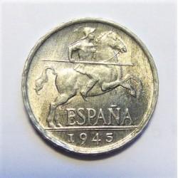 España 5 Cts. 1945. SC/SC-. (Leve zona con cambio de color). AL. 1,2gr. Ø20mm. HG. 240 - CT. 140