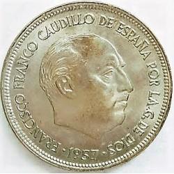 España 25 Ptas. 1957. *61. SC/SC-. (Procede de cartucho.Nueva con insig.marquita anv.propia de la acuñación). RARO/A. CUNI. 8,