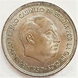 España 25 Ptas. 1957. *61. SC-/SC. (Procede de cartucho.Nueva con lev.marquitas propias de la acuñación). RARO/A. CUNI. 8,5gr.