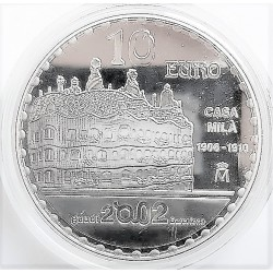 UE 10 €. 2002. PRF. (Año Intern.GAUDI-Parque Guell). AG. 27gr. Ø40mm. KM. 1084