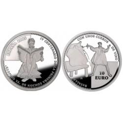 UE 10 €. 2005. PRF. (IVº Cº del Quijote)-(Lucha con Odres). AG. 27gr. Ø40mm. KM. 1105