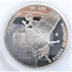 UE 10 €. 2005. PRF. (IVº Cº del Quijote)-(Molinos de Viento). AG. 27gr. Ø40mm. KM. 1104