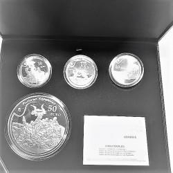 España Serie UE. 2010. PRF. (Serie GOYA). (Estuche oficial con 4 monedas: 1 de 50 € + 3 de 10€.). AG. 249,75gr. KM. 1178/81