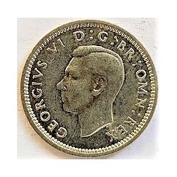 Gran Bretaña 3  Pence. 1942. MBC+/EBC-. AG. 1,414gr. Ø16mm. KM. 848