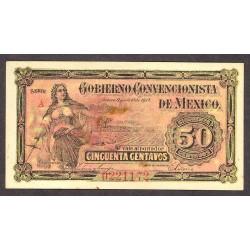 Mejico 50 Ctvo. 1915. SC-. (Gob.Convencionista). (Nuevo con lev.manchita). PIK. S-909 a