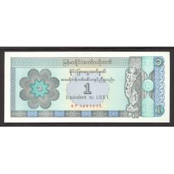 Myanmar-(Burma) 1 Dolar. 1993. SC. PIK. FX.1