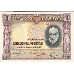 España 50 Ptas. 1935. SC/UNC. (Todo su apresto). (PAREJA Correlativa-Cajal-Serie A). EDF. C17a - PIK. 88