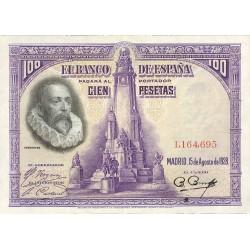 España 100 Ptas. 1928. EBC. (Nuevo con doblez. Planchado). (Sin Serie-Cervantes). PIK. 76 a - EDF. C5