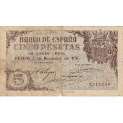 España 5 Ptas. 1936. BC/BC+. MUY RARO/A. EDF. D18 - HG. 450. (Pqño.agujerito por doblez.Muy usado)