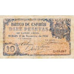 España 10 Ptas. 1936. MBC. MUY RARO/A. EDF. D19 - PIK. 98a. (Entero.Bastante usado)