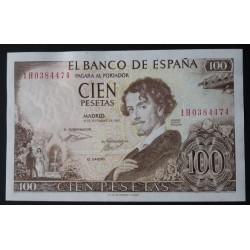 España 100 Ptas. 1965. SC. (FIRMA CAJERO en REVERSO-Serie 1H-(Becquer). MUY RARO/A. PIK. 150. Error Imp. - EDF. D71a. Error Im